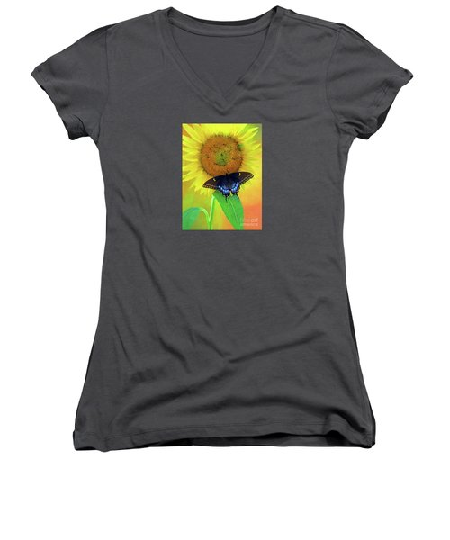 Sunflower With Company Women's V-Neck T-Shirt (Junior Cut) by Marion Johnson