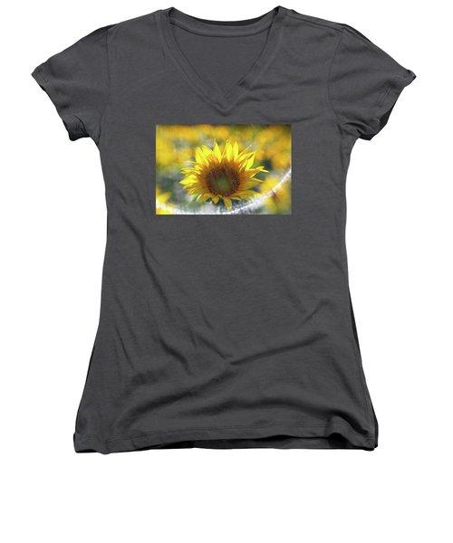 Sunflower With Lens Flare Women's V-Neck