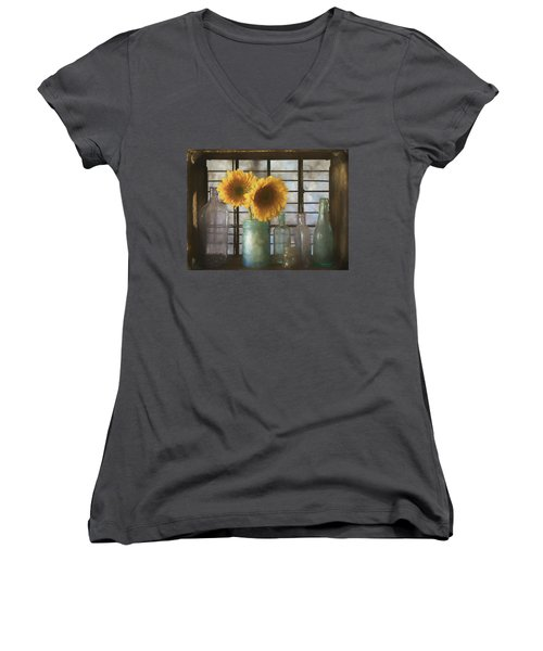 Sunflowers And Bottles Women's V-Neck (Athletic Fit)