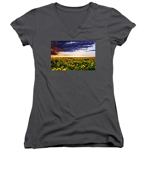 Sunflowers At Sunset Women's V-Neck T-Shirt