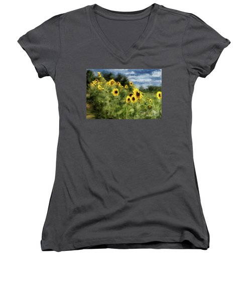 Sunflowers Bowing And Waving Women's V-Neck