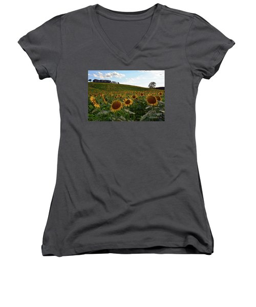 Sunflowers Fields  Women's V-Neck (Athletic Fit)