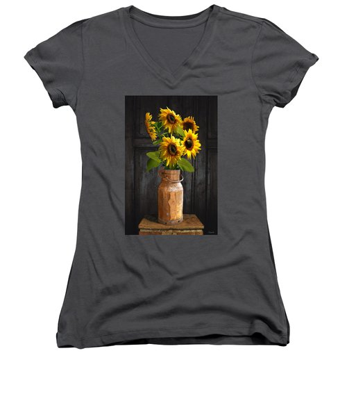 Sunflowers In Copper Milk Can Women's V-Neck (Athletic Fit)