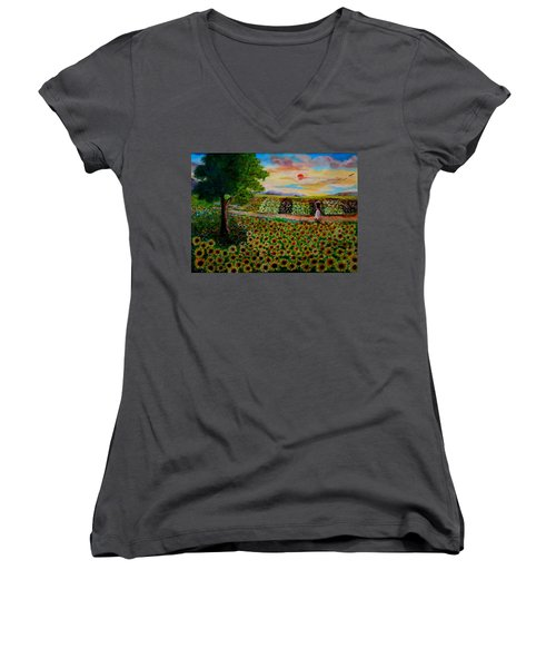 Sunflowers In Sunset Women's V-Neck (Athletic Fit)
