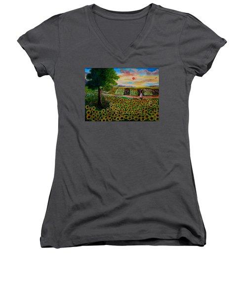 Sunflowers In Sunset Women's V-Neck T-Shirt