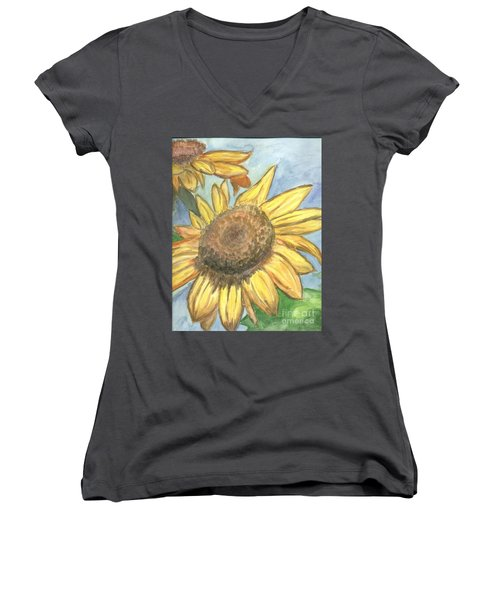 Women's V-Neck T-Shirt (Junior Cut) featuring the painting Sunflowers by Jacqueline Athmann