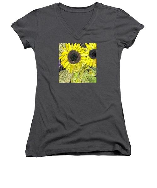 Sunflowers Women's V-Neck T-Shirt (Junior Cut) by Lou Belcher