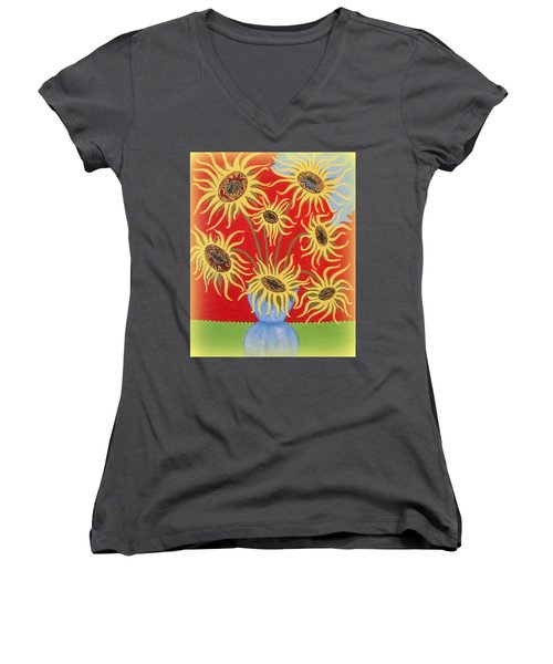 Sunflowers On Red Women's V-Neck (Athletic Fit)