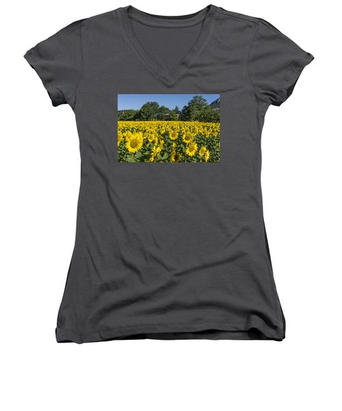 Women's V-Neck featuring the photograph Sunflowers Provence  by Juergen Held