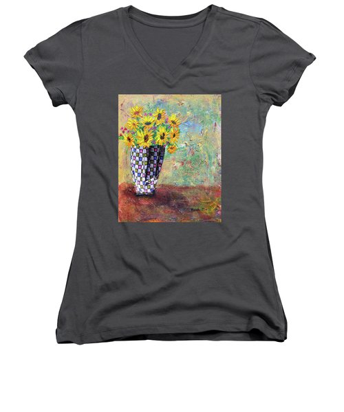 Sunflowers Warmth Women's V-Neck T-Shirt (Junior Cut) by Haleh Mahbod