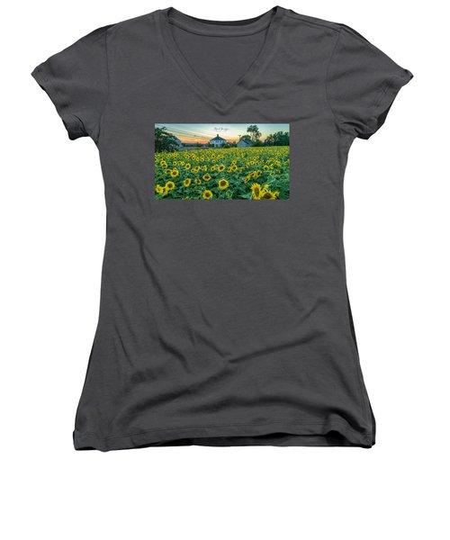 Sunflowers For Wishes  Women's V-Neck