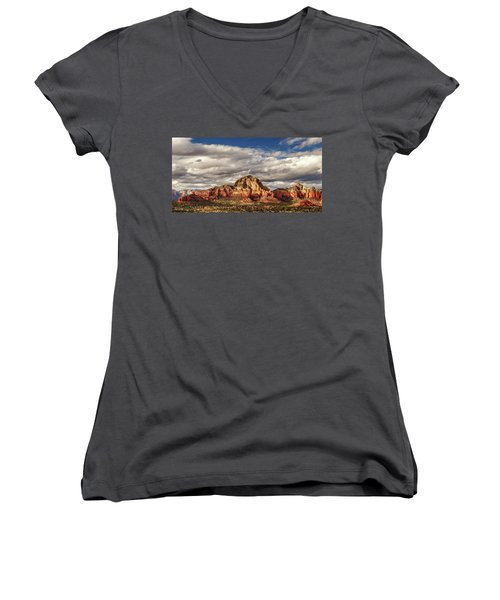 Women's V-Neck T-Shirt featuring the photograph Sunlight On Sedona by James Eddy