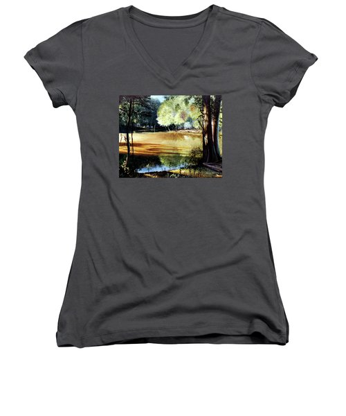 Sunlight On Village Creek Women's V-Neck