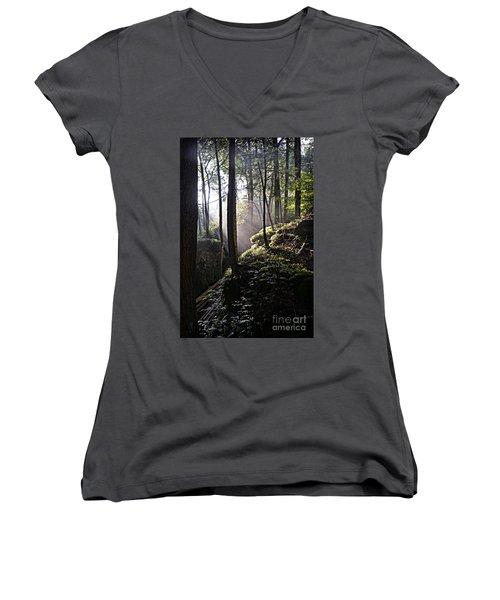 Sunlight Through Trees At Beartown State Park 3129c Women's V-Neck