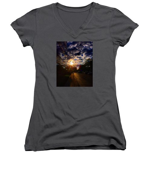 Sunlit Cloud Reflection Women's V-Neck T-Shirt (Junior Cut)