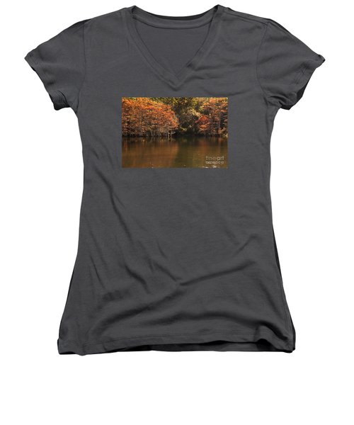 Women's V-Neck T-Shirt (Junior Cut) featuring the photograph Sunlit Cypress Trees On Beaver's Bend by Tamyra Ayles