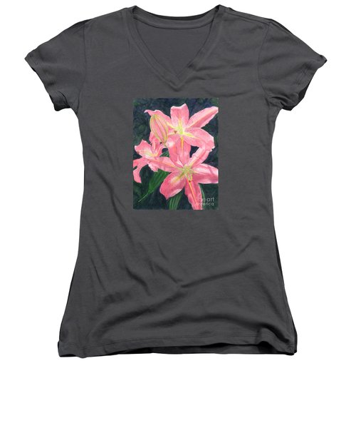 Sunlit Lilies Women's V-Neck (Athletic Fit)