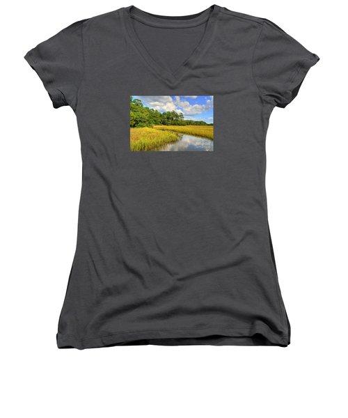 Sunlit Marsh Women's V-Neck T-Shirt (Junior Cut) by Kathy Baccari