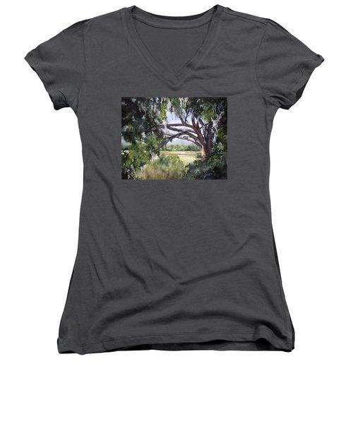 Sunlit Marsh Women's V-Neck T-Shirt