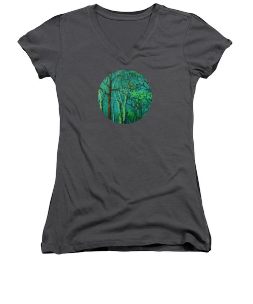 Sunlit Woodland Path Women's V-Neck