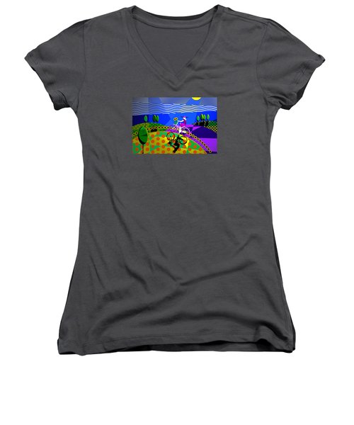 Women's V-Neck T-Shirt (Junior Cut) featuring the digital art Sunny Acres by Randall Henrie