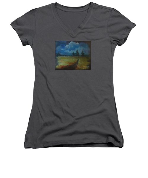 Women's V-Neck T-Shirt (Junior Cut) featuring the painting Sunny Field by Christina Verdgeline