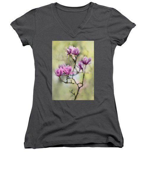 Sunny Impression With Pink Magnolias Women's V-Neck (Athletic Fit)
