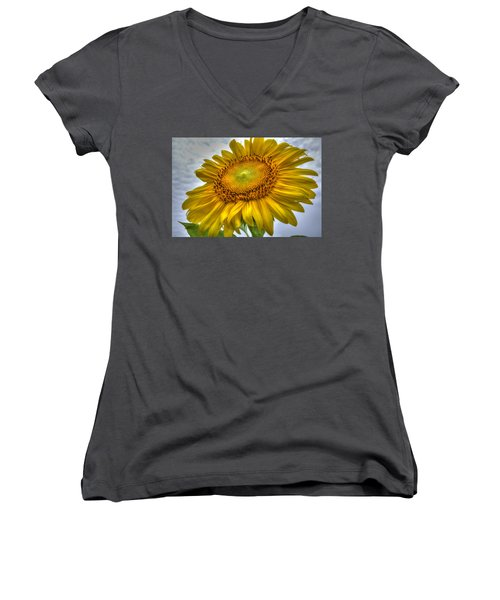 Sunny Side Up Women's V-Neck T-Shirt (Junior Cut) by Charlotte Schafer