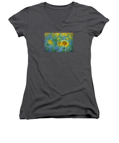 Sunny Sunflower Women's V-Neck (Athletic Fit)