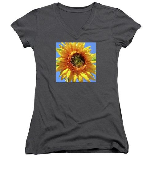 Sunny Sunflower Square Women's V-Neck T-Shirt