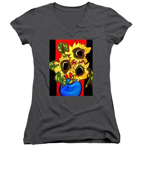 Sunny Sunflowers 1 Women's V-Neck