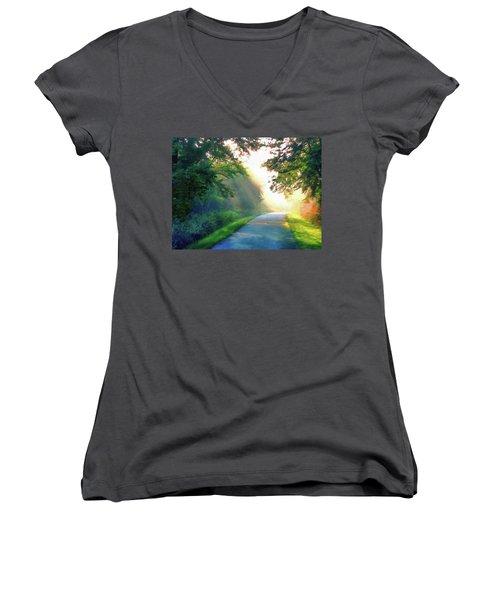 Sunny Trail Women's V-Neck T-Shirt (Junior Cut) by Cedric Hampton
