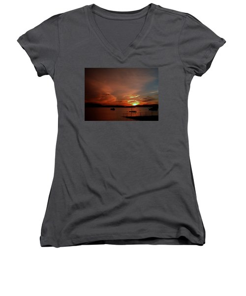 Sunraise Over Lake Women's V-Neck