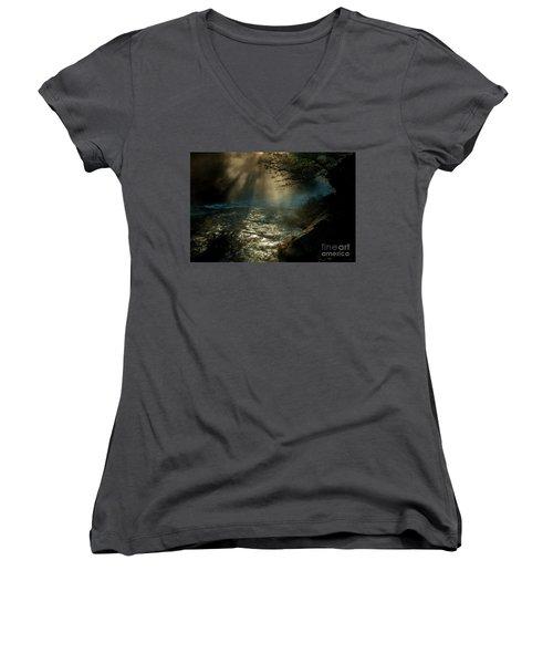 Sunrays At Fork River Women's V-Neck T-Shirt (Junior Cut) by Iris Greenwell