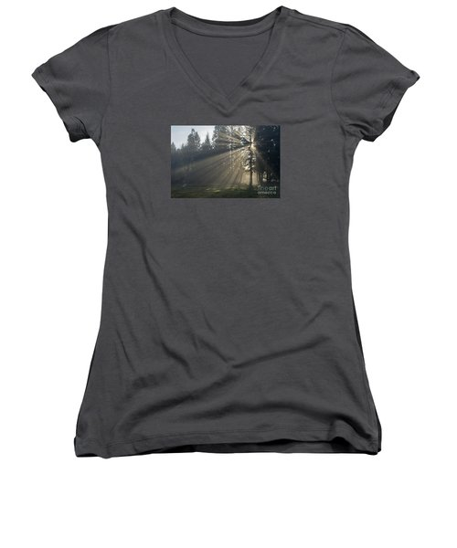 Women's V-Neck T-Shirt (Junior Cut) featuring the photograph Sunrays by Inge Riis McDonald