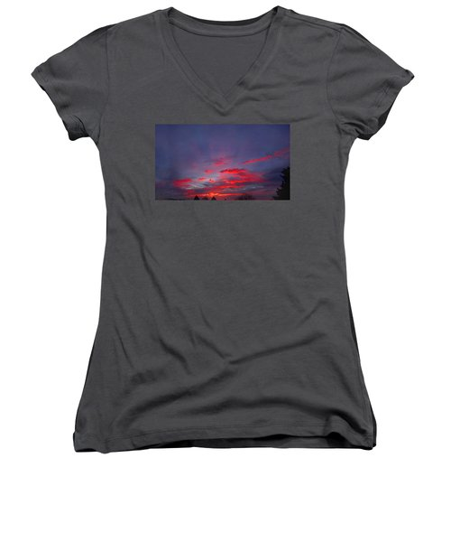 Women's V-Neck featuring the digital art Sunrise Abstract, Red Oklahoma Morning by Shelli Fitzpatrick