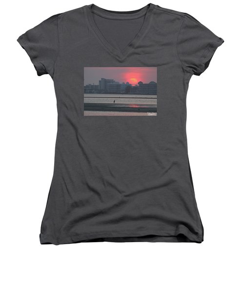 Sunrise And Skyline Women's V-Neck T-Shirt (Junior Cut) by Robert Banach