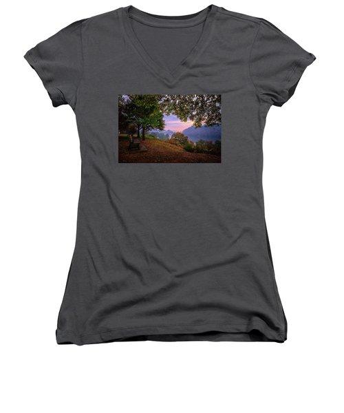 Sunrise At River Rd  Women's V-Neck T-Shirt