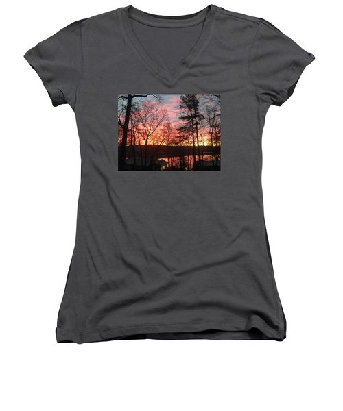 Sunrise At Carolina Trace Women's V-Neck T-Shirt