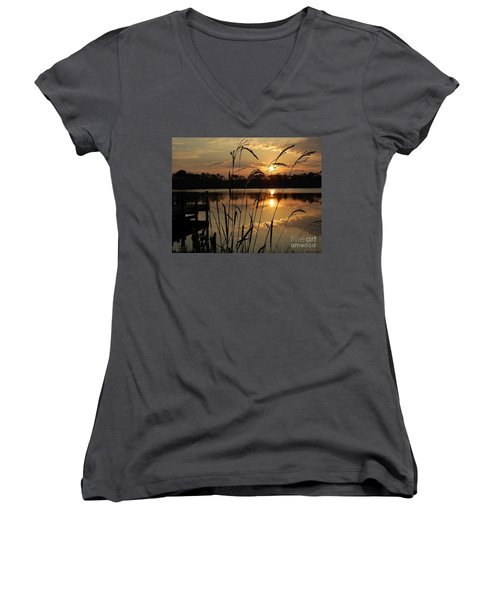 Sunrise At Grayton Beach Women's V-Neck T-Shirt (Junior Cut) by Robert Meanor