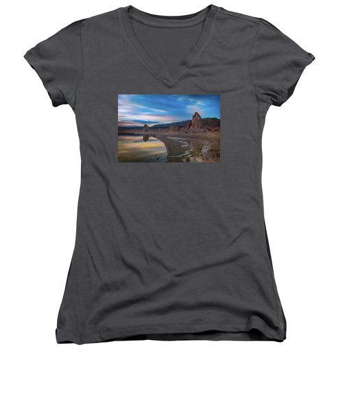 Sunrise At Mono Lake Women's V-Neck T-Shirt