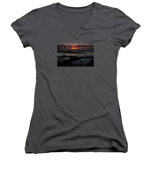 Women's V-Neck T-Shirt (Junior Cut) featuring the photograph Sunrise At Shipwreck Beach by Roger Mullenhour