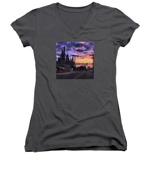 Women's V-Neck T-Shirt (Junior Cut) featuring the photograph Sunrise At Steelstacks by DJ Florek