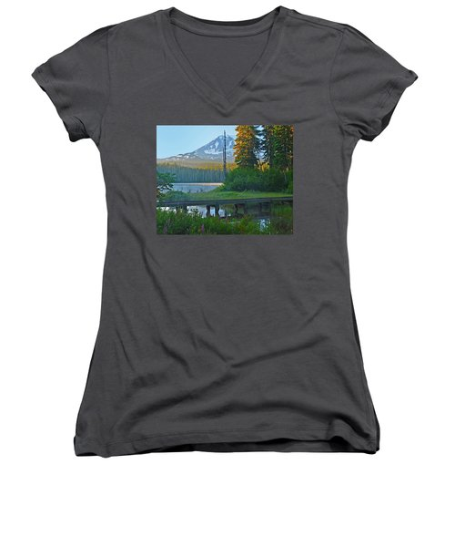 Women's V-Neck T-Shirt (Junior Cut) featuring the photograph Sunrise At Takhlakh Lake Under Mt Adams by Jack Moskovita