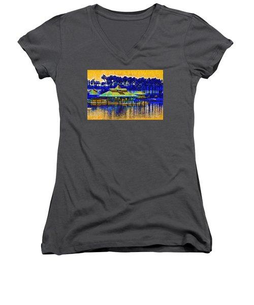 Sunrise At The Boat Dock Women's V-Neck T-Shirt
