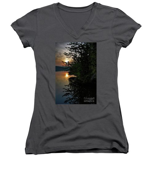 Women's V-Neck T-Shirt (Junior Cut) featuring the photograph Sunrise At The Lake by Henry Kowalski