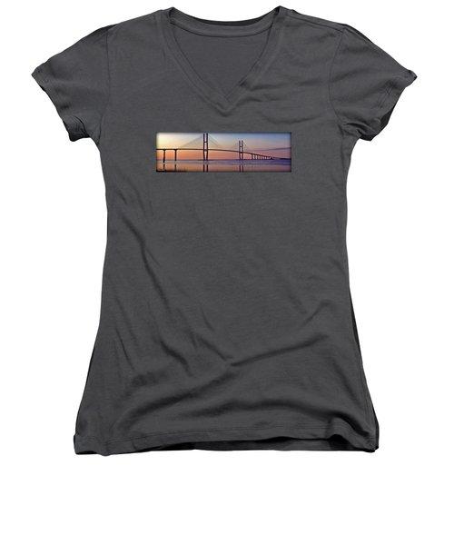 Sunrise At The Sidney Lanier Bridge Women's V-Neck