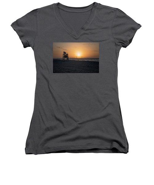Sunrise At The Skyway Bridge Women's V-Neck T-Shirt (Junior Cut) by Michael White
