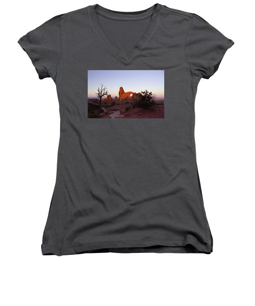 Sunrise At Tower Arch Women's V-Neck T-Shirt