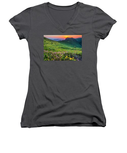 Sunrise Behind Goat Wall Women's V-Neck
